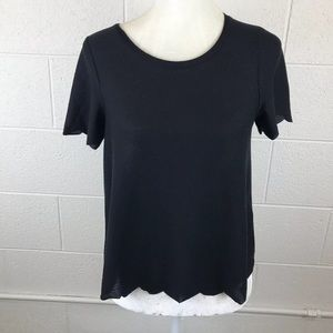 Topshop black top with scalloped hems 4